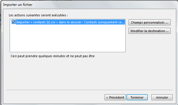 importer des contacts gmail dans outlook 2013
